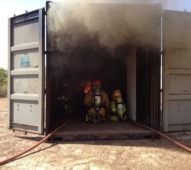 Fire Course with Container filled with smoke